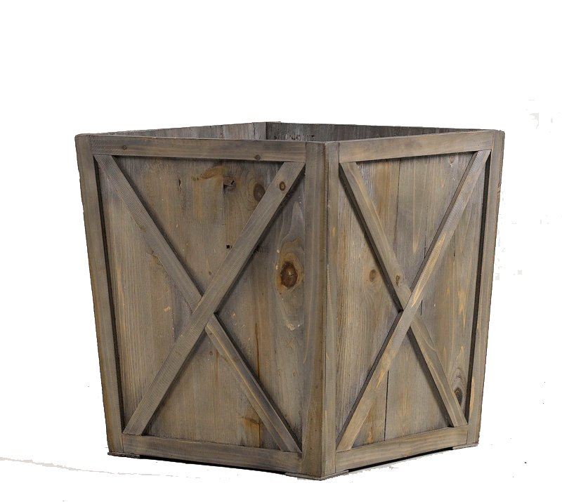 Large weathered wooden box planter