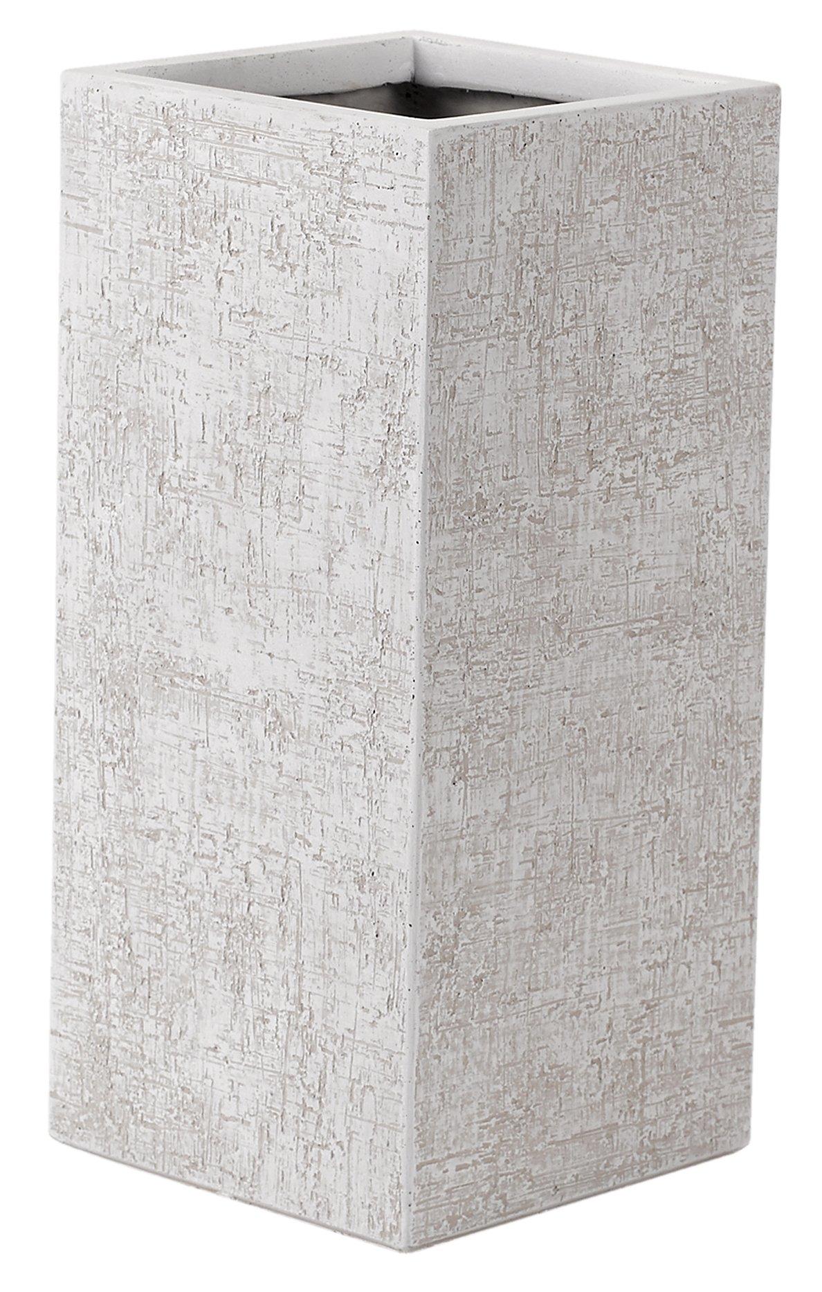 White Square Textured Planter - large