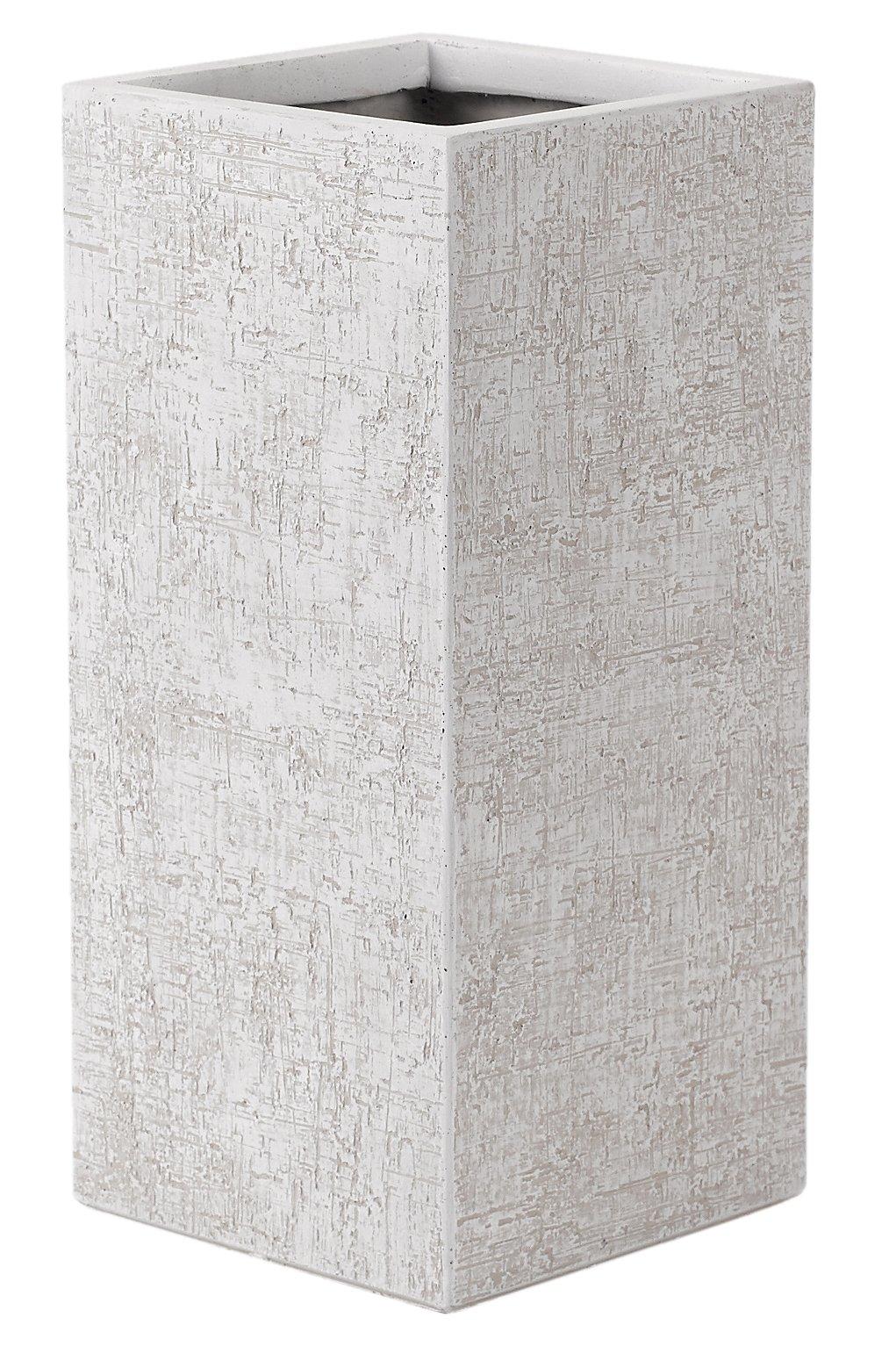 White Square Textured Planter - med